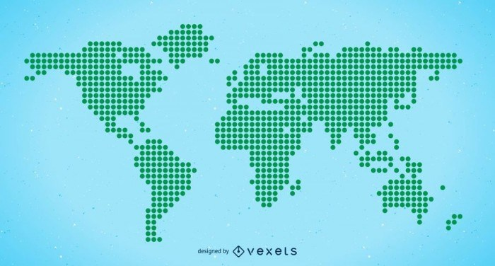 Halftone World map Free Vector