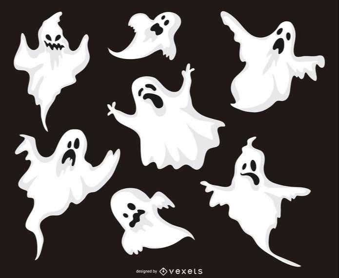 Halloween ghost illustrations set