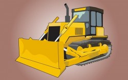 High Detail Yellow Bulldozer