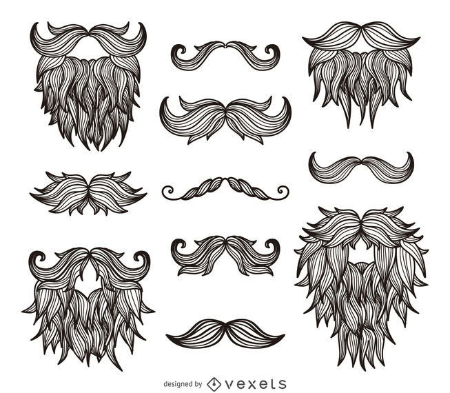 Hipster moustaches beards drawing