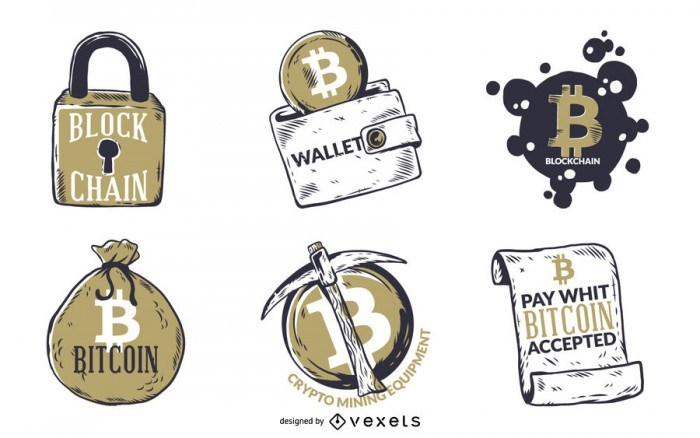 Illustrated Bitcoin badges set