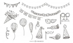 Illustrated Party Icon Set