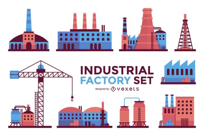 Industrial factory buildings set