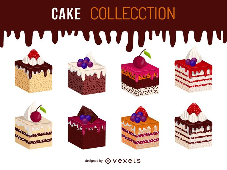 Isometric cake illustration set