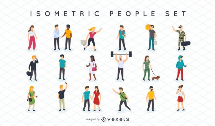 Isometric people illustration set