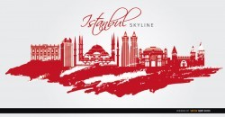 Istanbul landmarks painted red