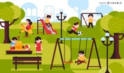 Kids park playground illustration