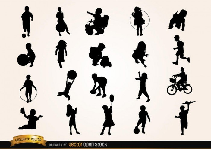 Kids playing Silhouettes