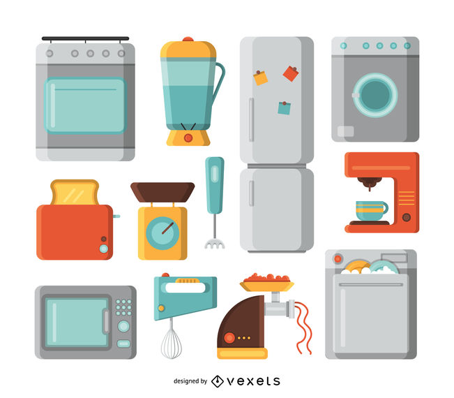 Kitchen appliances illustration set