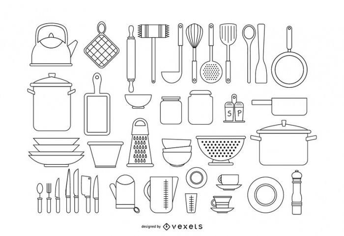 Kitchen tools stroke set