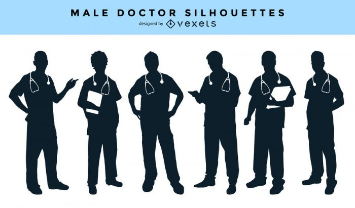 Male doctor silhouettes collection