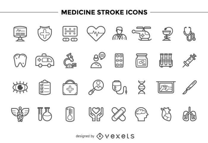 Medicine stroke icons set