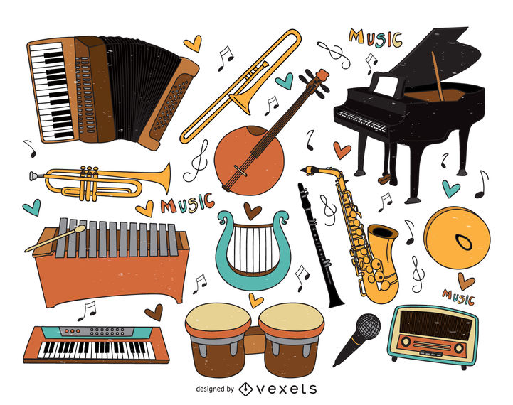 Musical instruments cartoons collection