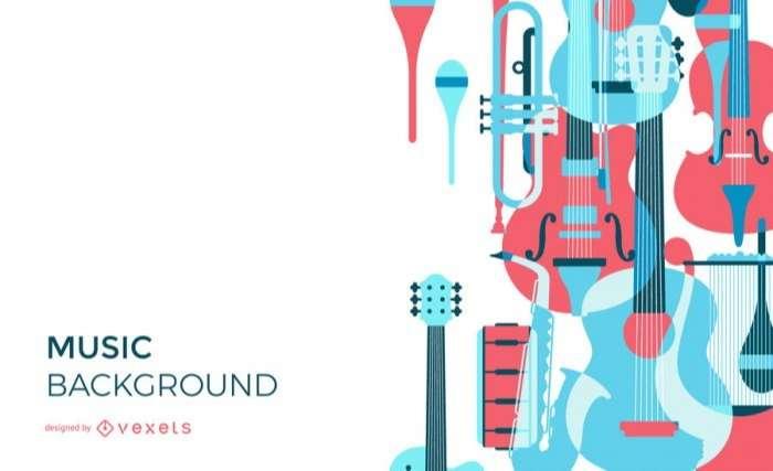 Musical instruments overlay background design