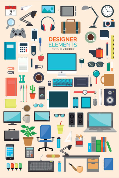 87 Office and designer icons element set