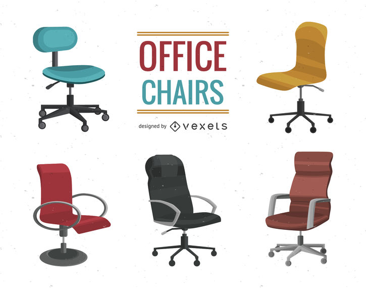 Office chair illustration set