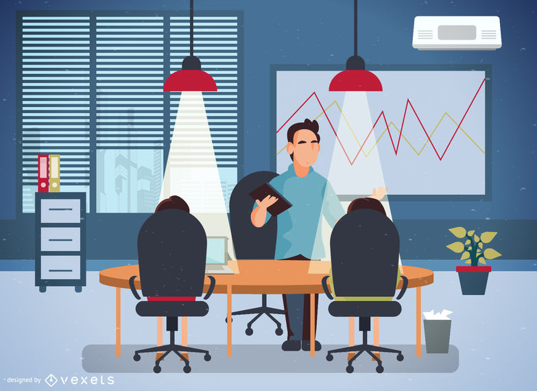 Office illustration with workers