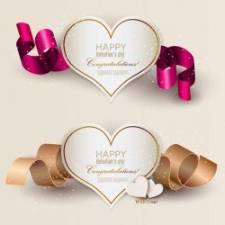 Paper Cutting Hearts 3D Ribbons