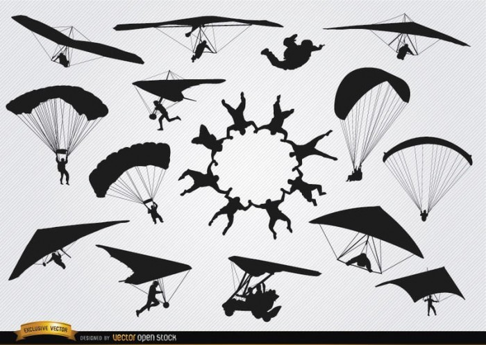 Parachutes and paragliders skydiving silhouettes