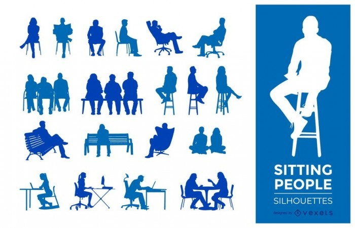 People sitting silhouettes