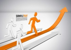 Peoples Running Up with Arrows Corporate Background