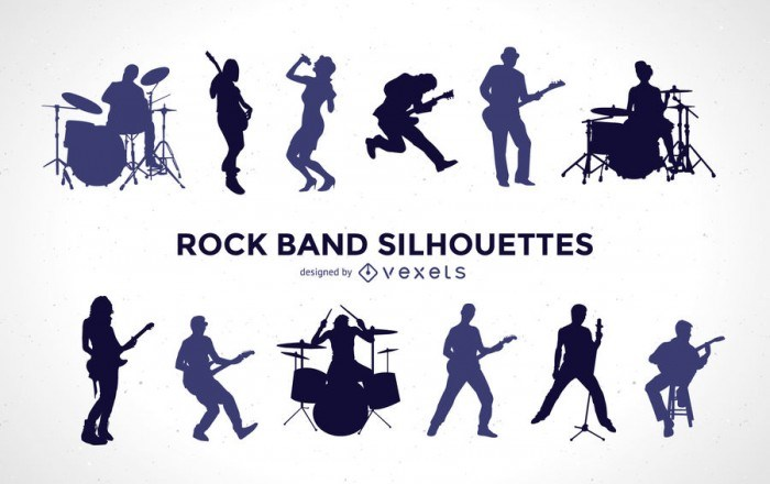 Rock band silhouette set