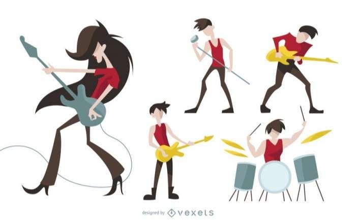 Rock characters cartoon set