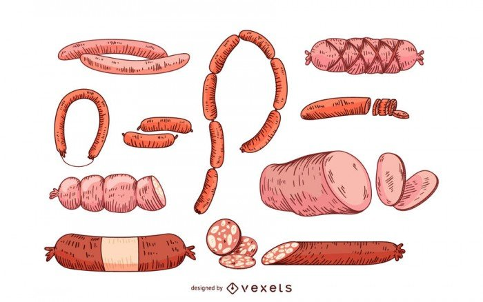 Sausage and salami icons set