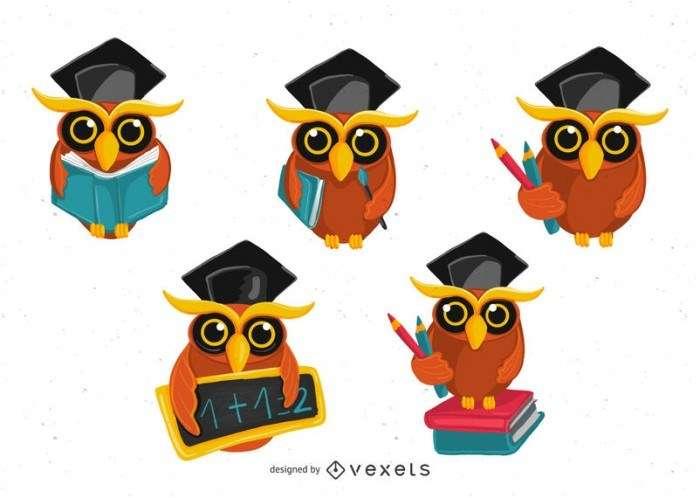 School owl illustration set