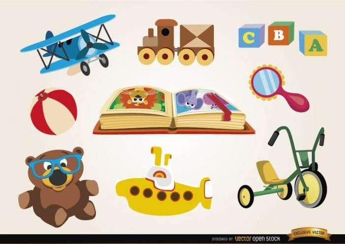 Set of funny cartoon toys