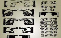 Set of Pointing Hands Vector