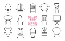 Set of stroke chair icons