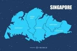 Singapore urban map vector