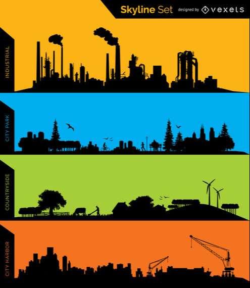 Skyline silhouettes – Industrial, Park, Conuntryside and Harbor