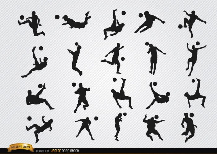 Soccer players ball jumping silhouettes