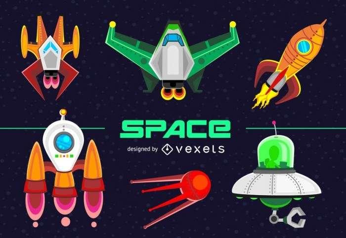 Spacecraft and spaceship illustration set