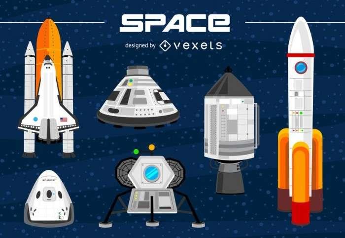 Spacecraft illustration set