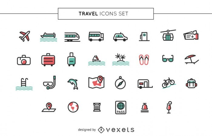Stroke travel icons set