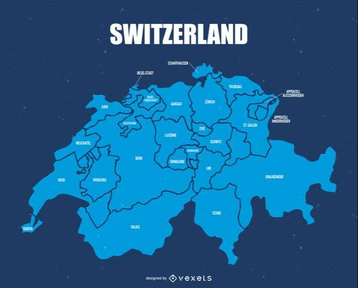 Switzerland administrative division map