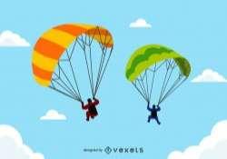 Tandem Paragliders in flight