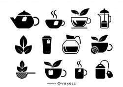 Tea drink icons set