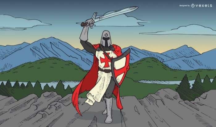 Templar knight illustration