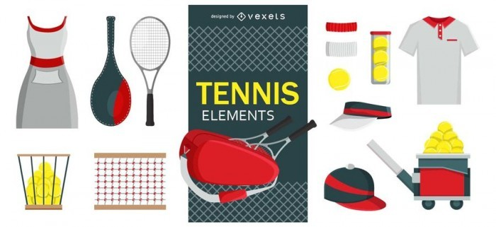 Tennis design elements set