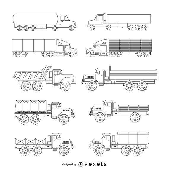 Truck illustration set
