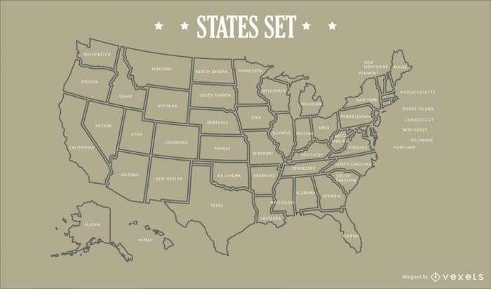 USA States Map Design