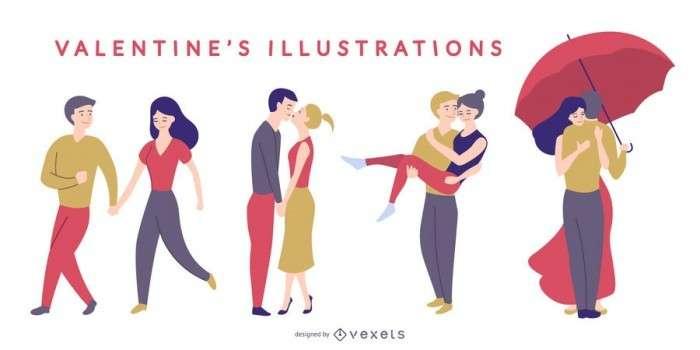 Valentine's Couple Illustration Set