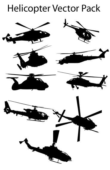 Various Silhouette Helicopter Pack