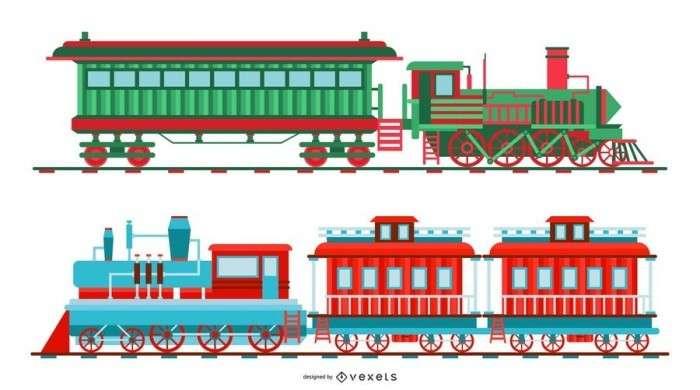 Vintage Christmas Train Illustration Set