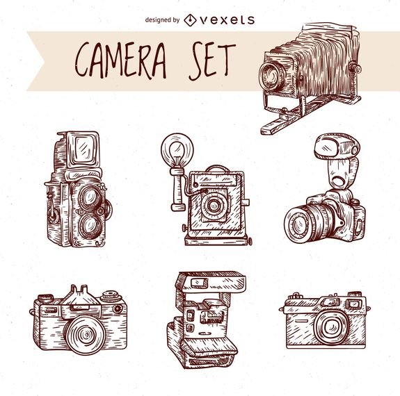 Vintage hand drawn cameras set