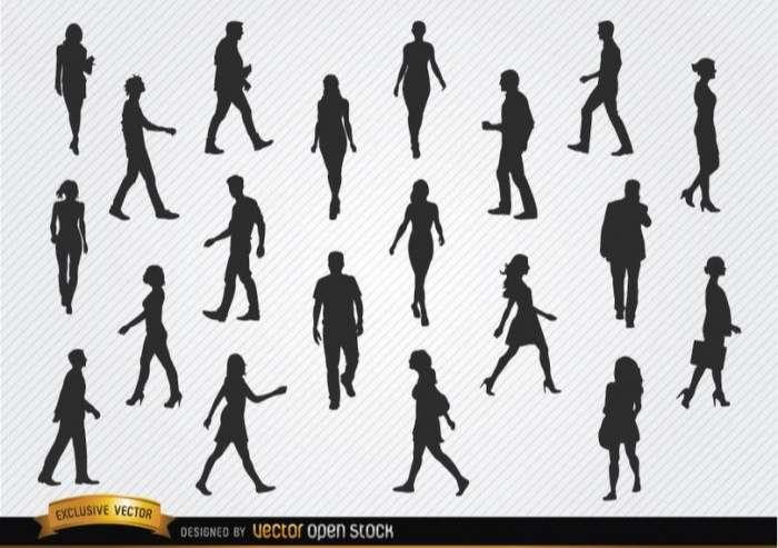 Walking people silhouettes set